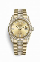 Rolex Day-Date 36 18 ct oro amarillo lugs Diamantes 118388 Champagne-colour Diamantes Dial Reloj