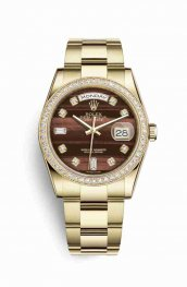 Rolex Day-Date 36 18 ct oro amarillo 118348 Bulls eye Diamantes Dial Reloj
