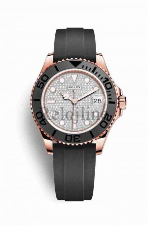 Rolex Yacht-Master 37 18 ct Everose oro 268655 Diamante-paved Dial Reloj