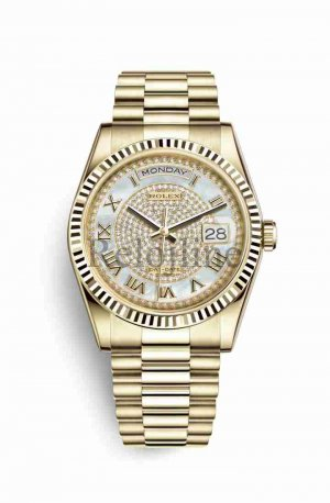 Rolex Day-Date 36 18 ct oro amarillo 118238 Blanco mother-of-pearl Diamante paved Dial Reloj
