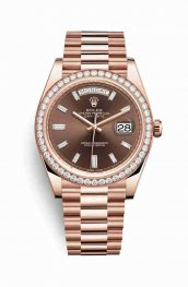Rolex Day-Date 40 18 ct Everose oro 228345RBR Chocolate Diamantes Dial Reloj