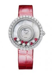 Chopard Happy Diamantes 18K Oro blanco Rubies & Diamantes Reloj de senoras 204445-1006