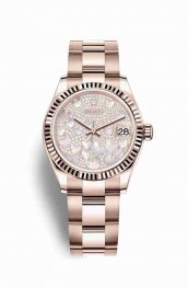 Rolex Datejust 31 18 ct Everose oro 278275 Paved mother-of-pearl butterfly Dial Reloj
