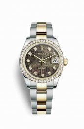 Rolex Datejust 31 Yellow Rolesor oro amarillo 178383 Negro mother-of-pearl Jubilee Diamantes Dial Reloj