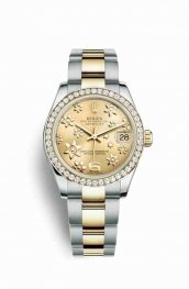 Rolex Datejust 31 Yellow Rolesor oro amarillo 178383 Champagne-colour raised floral motif Dial Reloj