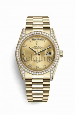 Rolex Day-Date 36 18 ct oro amarillo lugs Diamantes 118388 Champagne-colour Dial Reloj