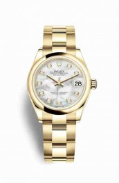 Rolex Datejust 31 18 ct oro amarillo 278248 Blanco mother-of-pearl Diamantes Dial Reloj