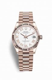 Rolex Datejust 31 18 ct Everose oro 278275 Blanco Dial Reloj