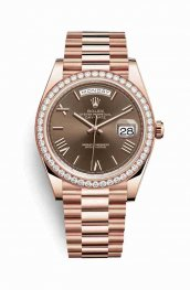 Rolex Day-Date 40 18 ct Everose oro 228345RBR Chocolate Dial Reloj