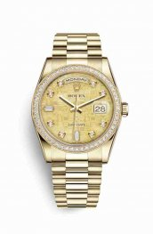 Rolex Day-Date 36 18 ct oro amarillo 118348 Champagne-colour mother-of-pearl Jubilee Diamantes Dial Reloj