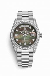 Rolex Day-Date 36 18 ct Oro blanco lugs Diamantes 118389 Negro mother-of-pearl Diamantes Dial Reloj