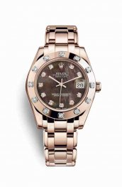 Rolex Pearlmaster 34 18 ct Everose oro 81315 Negro mother-of-pearl Diamantes Dial Reloj