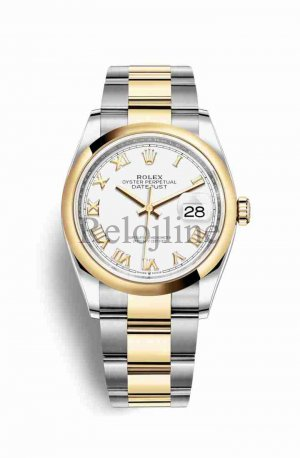 Rolex Datejust 36 Yellow Rolesor oro amarillo 126203 Blanco Dial Reloj
