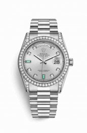 Rolex Day-Date 36 18 ct Oro blanco lugs Diamantes 118389 Rhodium Diamantes emeralds Dial Reloj
