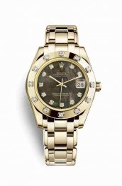 Rolex Pearlmaster 34 18 ct oro amarillo 81318 Negro mother-of-pearl Diamantes Dial Reloj