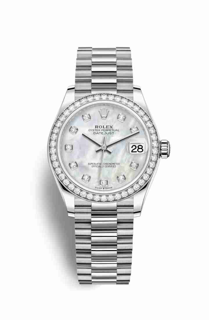 70a0098e7f38 Rolex Datejust 31 18 ct Oro blanco 278289RBR Blanco mother-of-pearl  Diamantes Dial Reloj